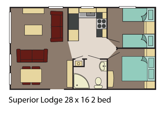 Superior Lodge 28x16 2 bed layout