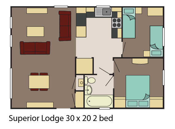 Superior Lodge 30x20 2 bed layout
