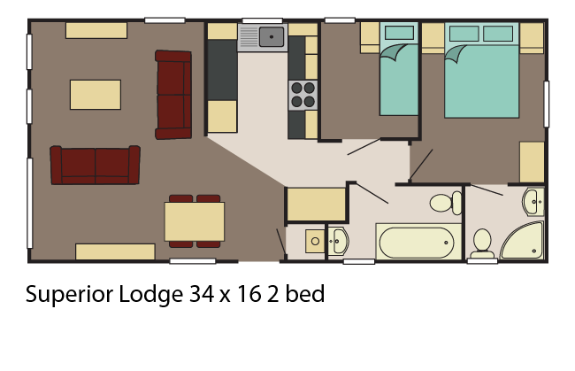 Superior Lodge 34x16 2 bed layout