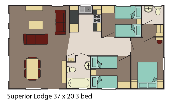 Superior Lodge 37x20 3 bed layout